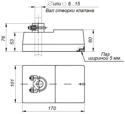 ALLFA BE 230-20-0,2 габаритно-присоединительные размеры электропривода