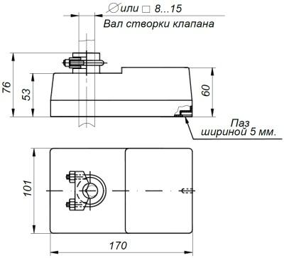 ALLFA BE 230-30-0,1 габаритно-присоединительные размеры электропривода
