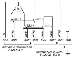 ALLFA BE 230-8-0,5 схема электрического подключения электропривода