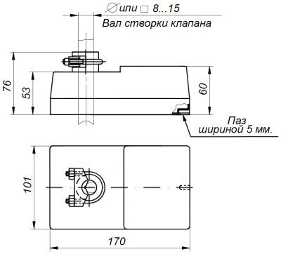ALLFA BE 230-8-0,5 габаритно-присоединительные размеры электропривода