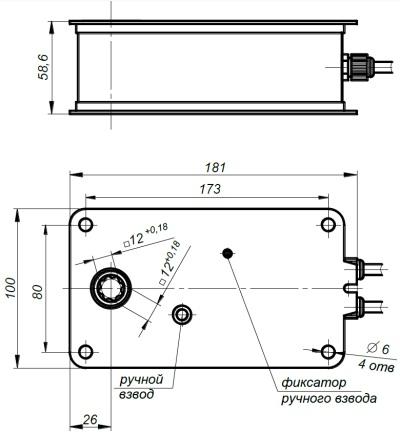 ALLFA FS 24 4-4 габаритно-присоединительные размеры электропривода