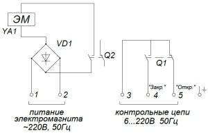 ALLFA ПЭМ 038-220 схема электрического подключения электропривода