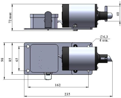 ALLFA ПЭМ 091-24 габаритно-присоединительные размеры электропривода