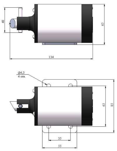 ALLFA ПЭМ 119-220 габаритно-присоединительные размеры электропривода