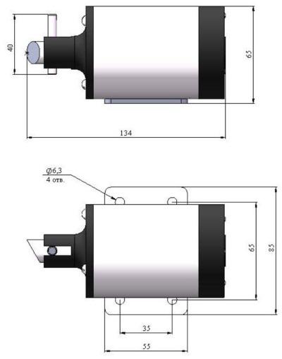 ALLFA ПЭМ 119-24 габаритно-присоединительные размеры электропривода