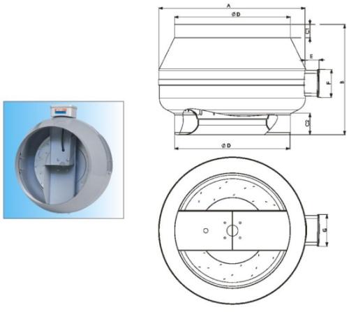 Габаритные и присоединительные размеры вентиляторов BDTX