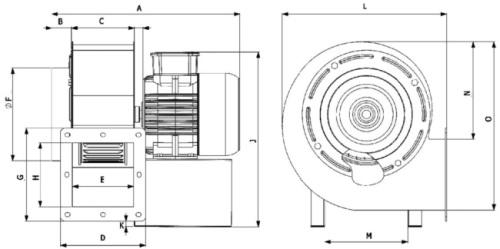 Конструктивная схема вентилятора радиального OBR200