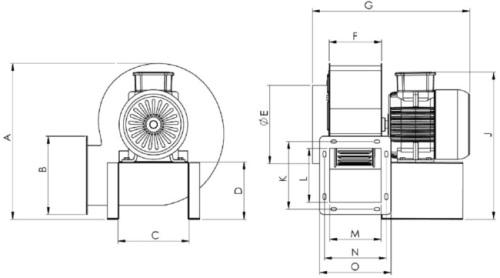 Конструктивная схема вентилятора радиального OBR260