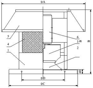 Конструктивная схема вентилятора крышного ВКР