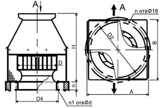 Конструктивная схема вентилятора дымоудаления крышного ВКРН ДУ
