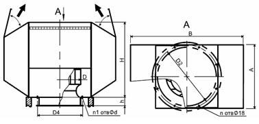 Конструктивная схема крышного вентилятора ВКРН-Ф ДУ