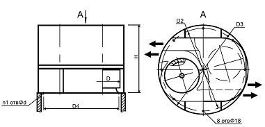 Конструктивная схема крышного вентилятора дымоудаления ВКРВ2х ДУ