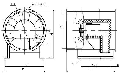 Конструктивная схема осевого вентилятора дымоудаления ВО-21-210 ДУ