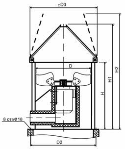 Конструктивная схема крышного вентилятора дымоудаления ВО-21-210К ДУ